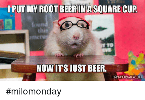 Memes, 🤖, and Roots: PUT MY ROOT BEERIN A SQUARE CUP  this  NOW ITS JUST BEER #milomonday