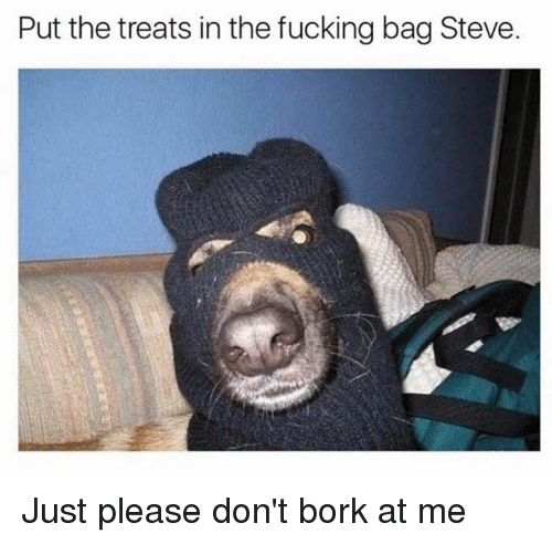 Børk: Put the treats in the fucking bag Steve. Just please don't bork at me