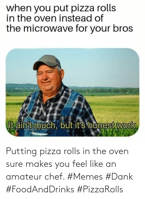 oven: Putting pizza rolls in the oven sure makes you feel like an amateur chef. #Memes #Dank #FoodAndDrinks #PizzaRolls