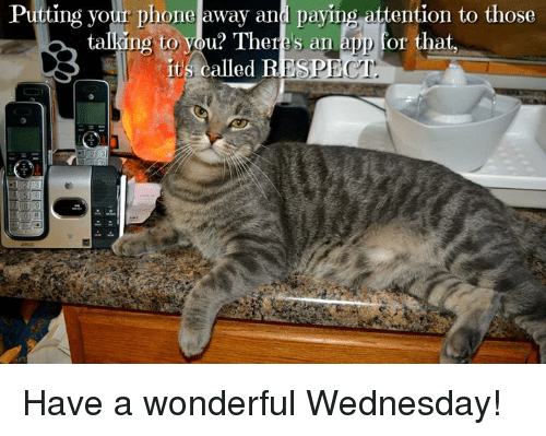 Have A Wonderful Wednesday: Putting vour phone away and paying attention to those  ki  ng to vou? There's an app for that  ng to you? There's an app for that,  it's called B  ESPECT Have a wonderful Wednesday!