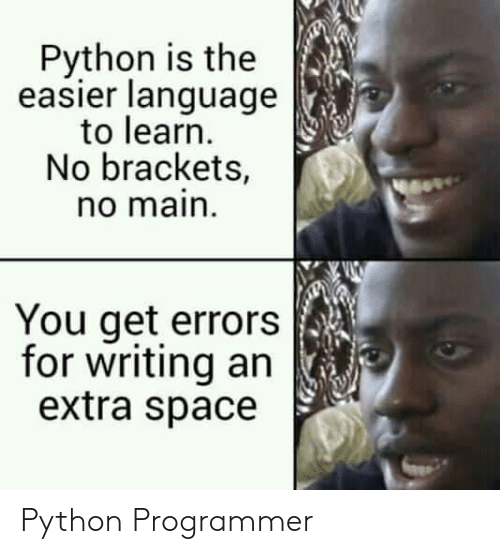 Errors: Python is the  easier language  to learn  No brackets,  no main  You get errors  for writing an  extra space Python Programmer