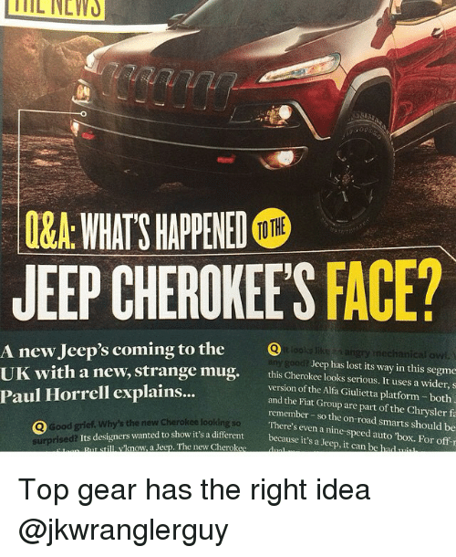 q a whats happened tothe jeep cherokees face a new jeep 39 s coming to the lools angry mechanical. Black Bedroom Furniture Sets. Home Design Ideas