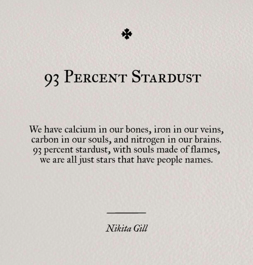 nitrogen: Q2 PERCENT STARDUST  We have calcium in our bones, iron in our veins,  carbon in our souls, and nitrogen in our brains.  93 percent stardust, with souls made of flames,  we are all just stars that have people names.  Nikita Gill