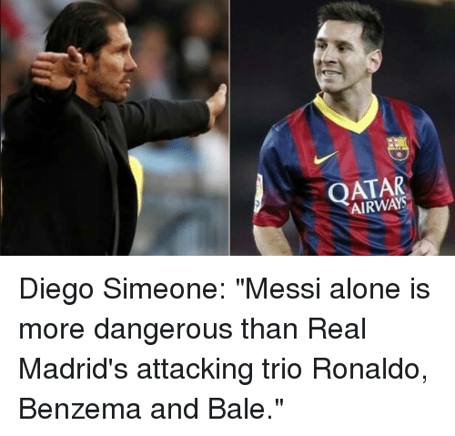 Qatar airways diego simeone messi alone is more dangerous for Oficina qatar airways madrid