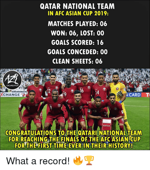 the finals: QATAR NATIONAL TEAM  IN AFC ASIAN CUP 2019:  MATCHES PLAYED: 06  WON: 06, LOST: 00  GOALS SCORED: 16  GOALS CONCEDED: 00  CLEAN SHEETS: 06  ORGANIZATION  12  14  CHANGE  19  CARD  CONGRATULATIONS TO THE QATARI NATIONAL TEAM  FOR REACHING THE FINALS OF THE AFC ASIAN CUP  FOR THE  FIRST TIME-EVER IN THEİRHİSTORY! What a record! 🔥🏆