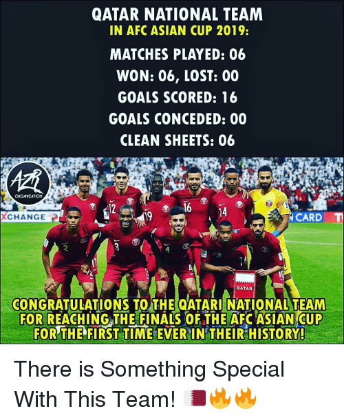 Qatar: QATAR NATIONAL TEAM  IN AFC ASIAN CUP 2019:  MATCHES PLAYED: 06  WON: 06, LOST: 00  GOALS SCORED: 16  GOALS CONCEDED: 00  CLEAN SHEETS: 06  ORGAMIZATION  12  16 4  XCHANGE  19  CARD  2  CONGRATULATIONS TO THE QATARI NATIONAL TEAM  FOR REACH INGTHE FINALS OF THE AFC ASIAN CUP  FOR THE FIRST TIME EVER IN THEIR HISTORY! There is Something Special With This Team! 🇶🇦🔥🔥