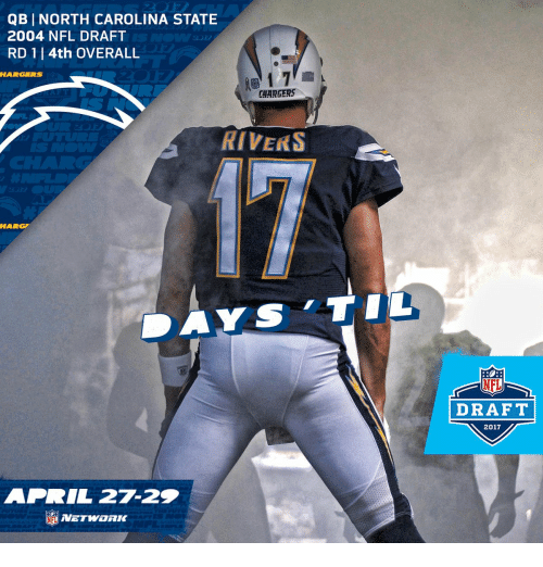 Memes, Nfl, and NFL Draft: QB I NORTH CAROLINA STATE  2004 NFL DRAFT  RD 1 l 4th OVERALL  CHARGERS  RIVERS  APRIL 27-22  DRAFT  2017