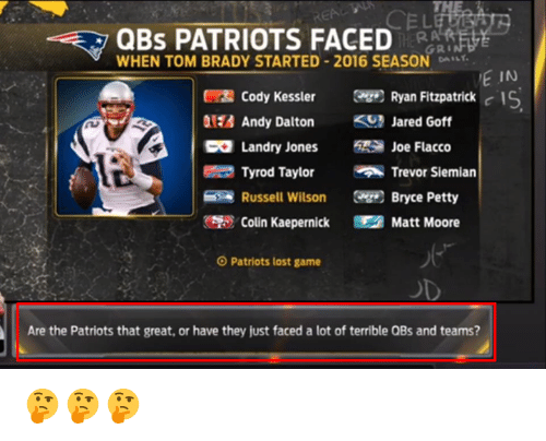 Ryan Fitzpatrick: QBS PATRIOTS FACED  GRI  WHEN TOM BRADY STARTED 2016 SEASON DA  E IN  Cody Kessler Ryan Fitzpatrick  c IS  Andy Dalton  Jared Goff  Landry Jones  Joe Flacco  Tyrod Taylor  Trevor Siemian  Russell Wilson  Bryce Petty  Colin Kaepernick Matt Moore  O Patriots lost game  Are the Patriots that great, or have they just faced a lot of terrible QBs and teams? 🤔🤔🤔
