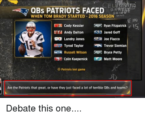 Ryan Fitzpatrick: QBs PATRIOTS FACED  WHEN TOM BRADY STARTED 2016 SEASON  GRI  VE IN  Cody Kessler  Ryan Fitzpatrick  c IS  Andy Dalton  KS Jared Goff  CO Landry Jones  Joe Flacco  Tyrod Taylor  Trevor Siemian  Russell Wilson  Bryce Petty  Colin Kaepernick Matt Moore  O Patriots lost game  Are the Patriots that great, or have they just faced a lot of terrible QBs and teams? Debate this one....