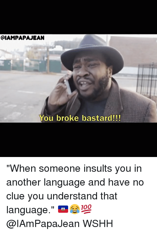 "Memes, Wshh, and Insults: QIAMPAPAJEAN  You broke bastard!!! ""When someone insults you in another language and have no clue you understand that language."" 🇭🇹😂💯 @IAmPapaJean WSHH"