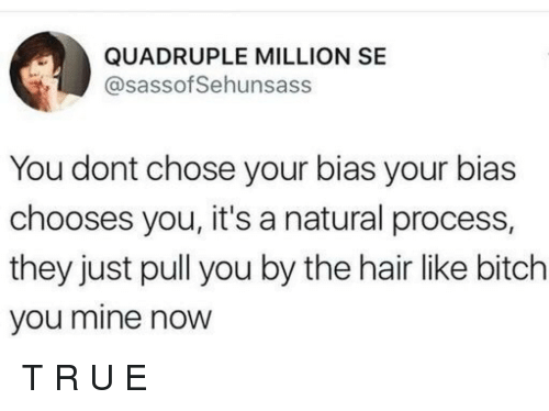 Mine Now: QUADRUPLE MILLION SE  @sassof Sehunsass  You dont chose your bias your bias  chooses you, it's a natural process,  they just pull you by the hair like bitch  you mine now T         R        U             E