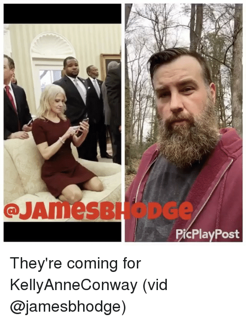 Memes, 🤖, and Post: QUAmesBH  PicPlay Post They're coming for KellyAnneConway (vid @jamesbhodge)