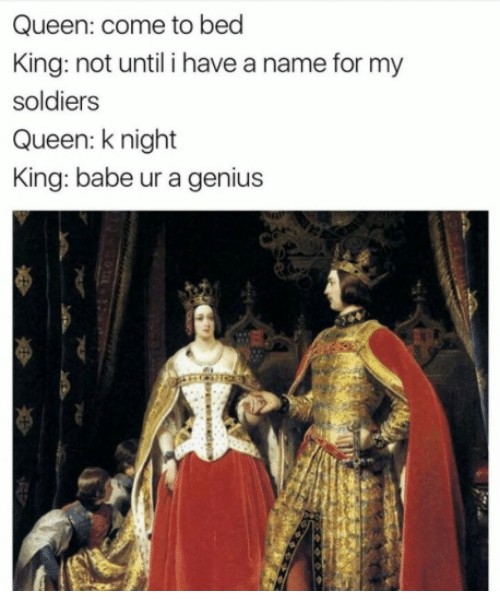 Memes, Soldiers, and Queen: Queen: come to bed  King: not until i have a name for my  soldiers  Queen: knight  King: babe ur a genius