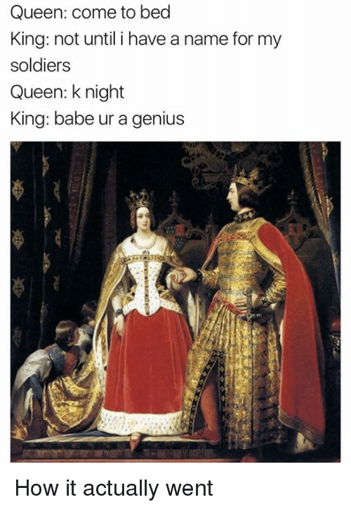 Memes, Soldiers, and Queen: Queen: come to bed  King: not until i have a name for my  soldiers  Queen: knight  King: babe ur a genius How it actually went