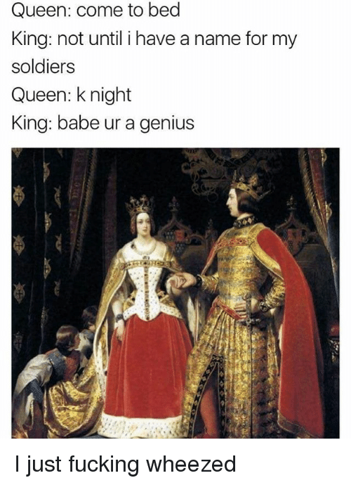 Fucking, Memes, and Soldiers: Queen: come to bed  King: not until i have a name for my  soldiers  Queen: knight  King: babe ur a genius I just fucking wheezed