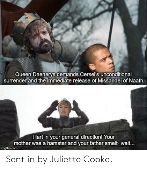 Surrender: Queen Daenerys demands Cersel's unconditlonal  surrender and the immediate release of Missandel of Naath.  I fart in your general directionl Your  mother was a hamster and your father smelt-wait.  imgflip.com Sent in by Juliette Cooke.