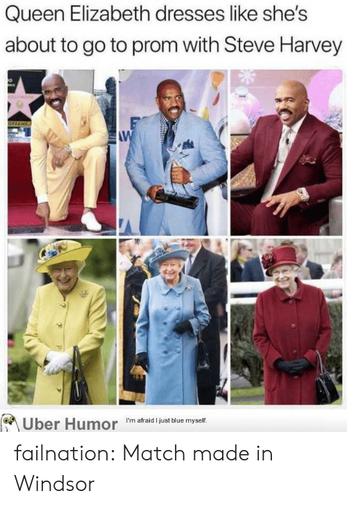 Steve Harvey: Queen Elizabeth dresses like she's  about to go to prom with Steve Harvey  W  Uber Humor  I'm afraid I just blue myself. failnation:  Match made in Windsor
