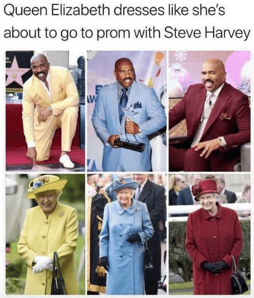 Steve Harvey: Queen Elizabeth dresses like she's  about to go to prom with Steve Harvey  OLLWOOD  OFFAME  AW