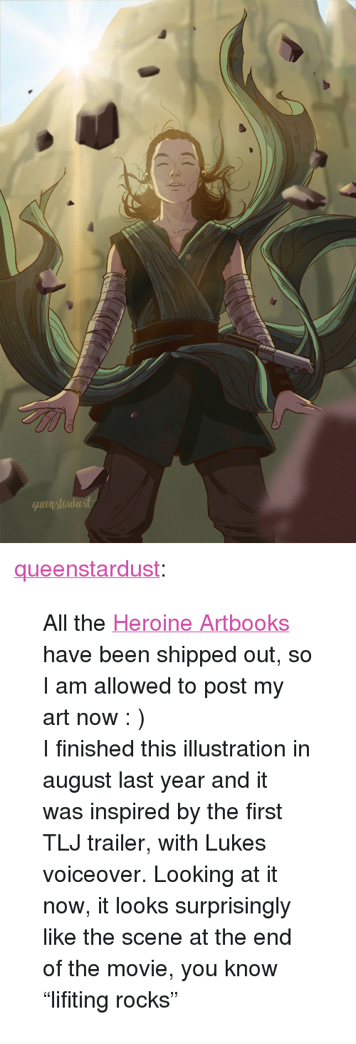 """heroine: queenstondast <p><a href=""""http://queenstardust.tumblr.com/post/172964960386/all-the-heroine-artbooks-have-been-shipped-out-so"""" class=""""tumblr_blog"""" target=""""_blank"""">queenstardust</a>:</p><blockquote><p>All the <a href=""""https://heroine-artbook.tumblr.com/"""" target=""""_blank"""">Heroine Artbooks</a> have been shipped out, so I am allowed to post my art now : ) <br/>I finished this illustration in august last year and it was inspired by the first TLJ trailer, with Lukes voiceover. Looking at it now, it looks surprisingly like the scene at the end of the movie, you know """"lifiting rocks"""" <br/></p></blockquote>"""