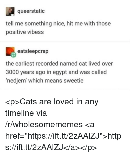 """Cats, Egypt, and Nice: queerstatic  tell me something nice, hit me with those  positive vibess  eatsleepcrap  the earliest recorded named cat lived over  3000 years ago in egypt and was called  'nedjem which means sweetie <p>Cats are loved in any timeline via /r/wholesomememes <a href=""""https://ift.tt/2zAAlZJ"""">https://ift.tt/2zAAlZJ</a></p>"""