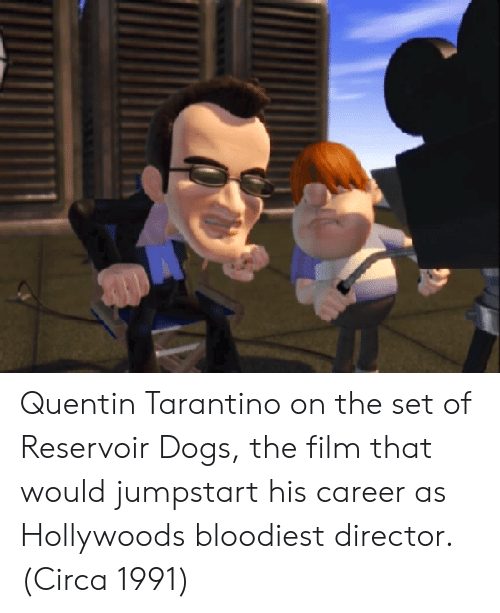 Quentin Tarantino: Quentin Tarantino on the set of Reservoir Dogs, the film that would jumpstart his career as Hollywoods bloodiest director. (Circa 1991)
