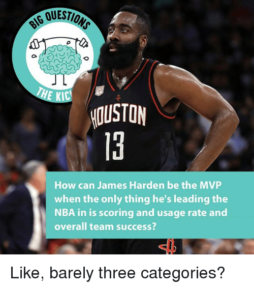James Harden, Nba, and Houston: QUESTIO  HE KIC  HOUSTON  How can James Harden be the MVP  when the only thing he's leading the  NBA in is scoring and usage rate and  overall team success? Like, barely three categories?
