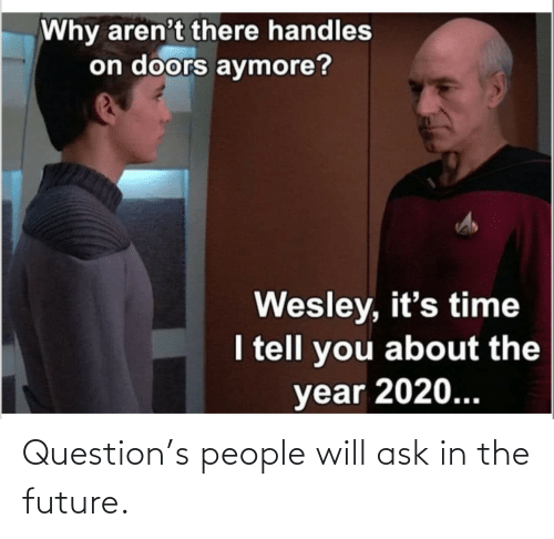 Future, Ask, and Will: Question's people will ask in the future.