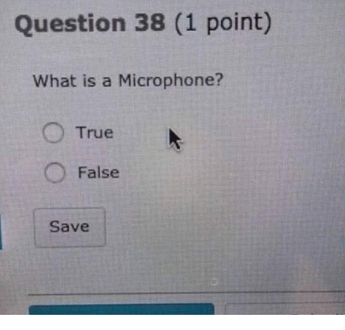 Dank, True, and What Is: Question 38 (1 point)  What is a Microphone?  O True  O False  Save