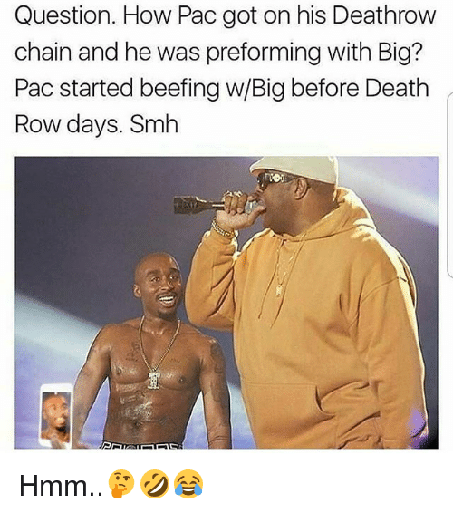 Memes, Smh, and Death: Question. How Pac got on his Deathrow  chain and he was preforming with Big?  Pac started beefing w/Big before Death  Row days. Smh Hmm..🤔🤣😂
