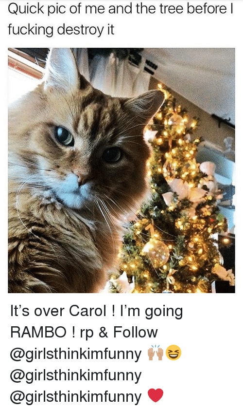 Rambo: Quick pic of me and the tree beforel  fucking destroy it It's over Carol ! I'm going RAMBO ! rp & Follow @girlsthinkimfunny 🙌🏽😆 @girlsthinkimfunny @girlsthinkimfunny ❤️