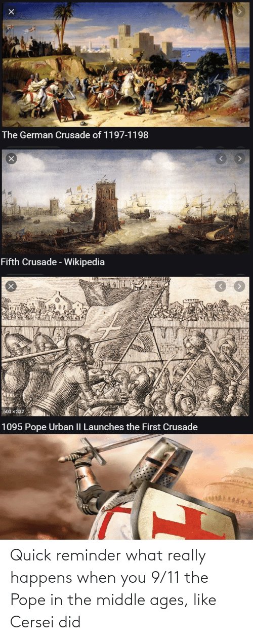 middle ages: Quick reminder what really happens when you 9/11 the Pope in the middle ages, like Cersei did