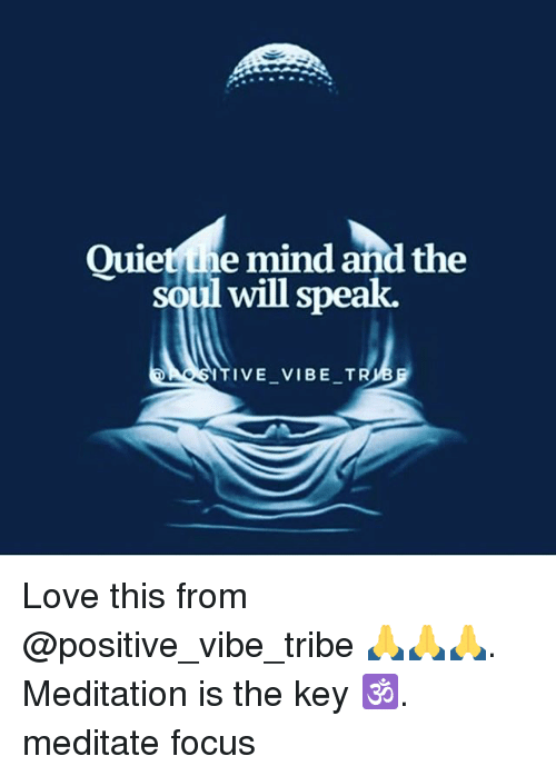 Love, Memes, and Focus: Quietsie mind and the  soul will speak  uietthe mind and the  ITIVE VIBE T Love this from @positive_vibe_tribe 🙏🙏🙏. Meditation is the key 🕉. meditate focus
