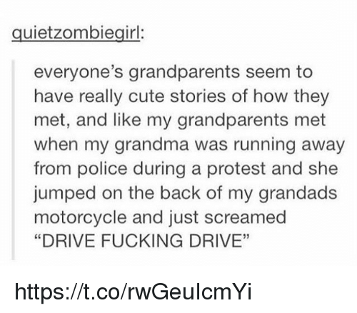 "Cute, Fucking, and Grandma: quietzombiegirl:  everyone's grandparents seem to  have really cute stories of how they  met, and like my grandparents met  when my grandma was running away  from police during a protest and she  jumped on the back of my grandads  motorcycle and just screamed  ""DRIVE FUCKING DRIVE""  05 https://t.co/rwGeuIcmYi"
