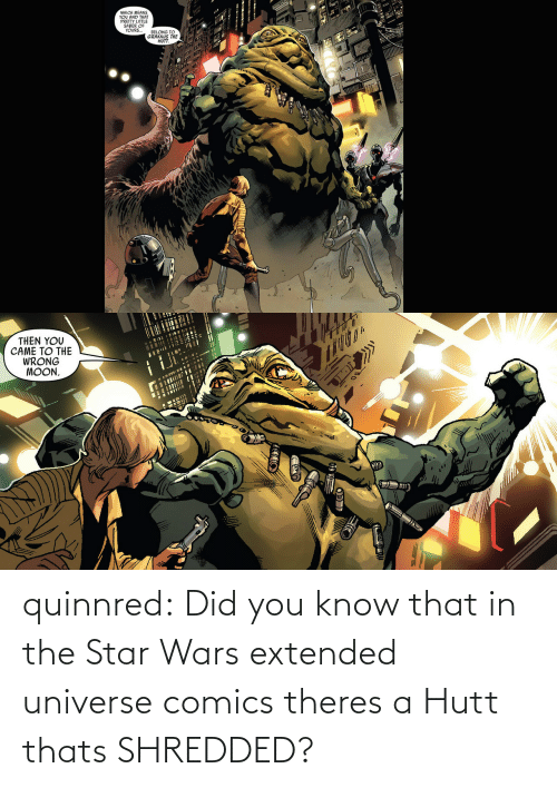did you know: quinnred:  Did you know that in the Star Wars extended universe comics theres a Hutt thats SHREDDED?
