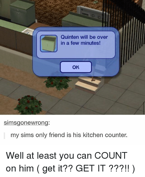 Ironic, Sims, and Him: Quinten will be over  in a few minutes  OK  simsgonewrong:  my sims only friend is his kitchen counter. Well at least you can COUNT on him ( get it?? GET IT ???!! )