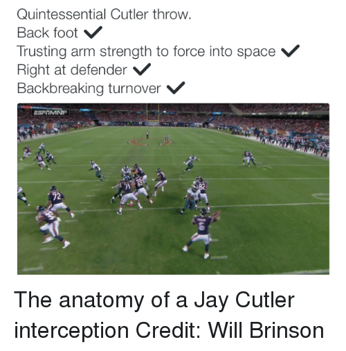 NFL: Quintessential Cutler throw.  Back foot  Trusting arm strength to force into space V  Right at defender  V  Backbreaking turnover V  22 The anatomy of a Jay Cutler interception Credit: Will Brinson