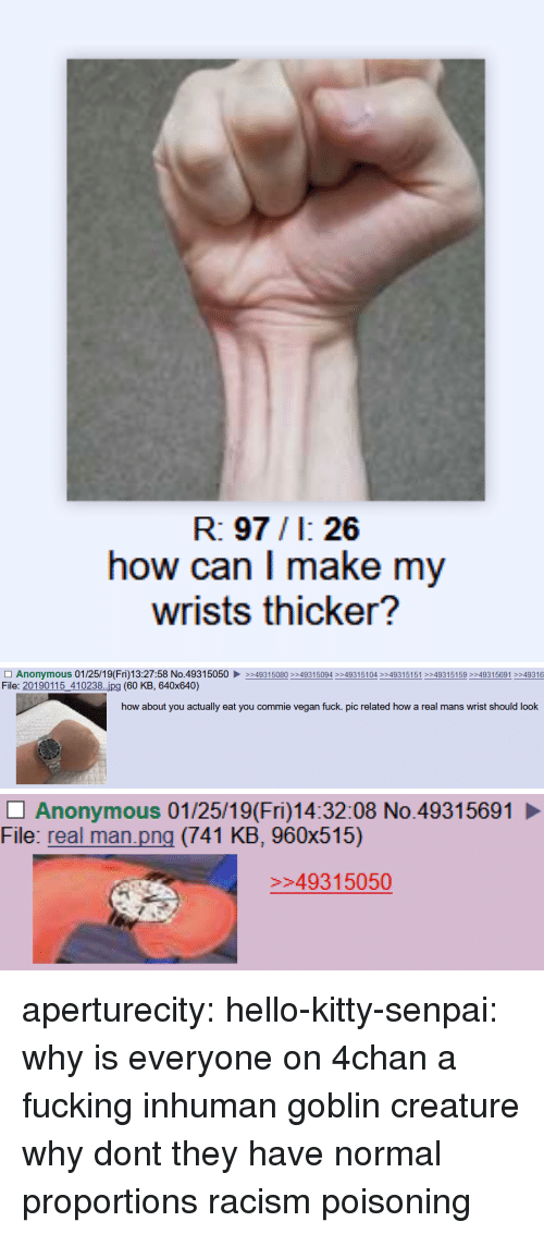 Senpai: R: 97/1: 26  how can I make my  wrists thicker?   □ Anonymous 01 /25/1 9( Fri)13:27:58 No.4931 5050 ▶  File: 20190115_410238..ipg (60 KB, 640x640)  >>493 15080 >>4931 5094 >>4931 5104 >>4931 5151 >>493 15 159 >>493 15691 >>49316  how about you actually eat you commie vegan fuck. pic related how a real mans wrist should look   Anonymous 01/25/19(Fri)14:32:08 No.49315691  File: real man.png (741 KB, 960x515)  49315050 aperturecity: hello-kitty-senpai: why is everyone on 4chan a fucking inhuman goblin creature why dont they have normal proportions   racism poisoning