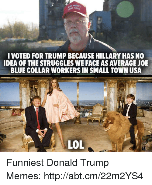 Trump Meme: r AGAIN  I VOTED FOR TRUMPBECAUSE HILLARYHASNO  IDEA OF THE STRUGGLES WE FACEASAWERAGE JOE  BLUE COLLAR WORKERS IN SMALL TOWN USA  LOL Funniest Donald Trump Memes: http://abt.cm/22m2YS4