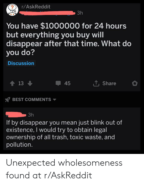 blink: r/AskReddit  ?  3h  You have $1000000 for 24 hours  but everything you buy will  disappear after that time. What do  you do?  Discussion  13  Share  45  BEST COMMENTS  3h  If by disappear you mean just blink out of  existence, I would try to obtain legal  ownership of all trash, toxic waste, and  pollution Unexpected wholesomeness found at r/AskReddit
