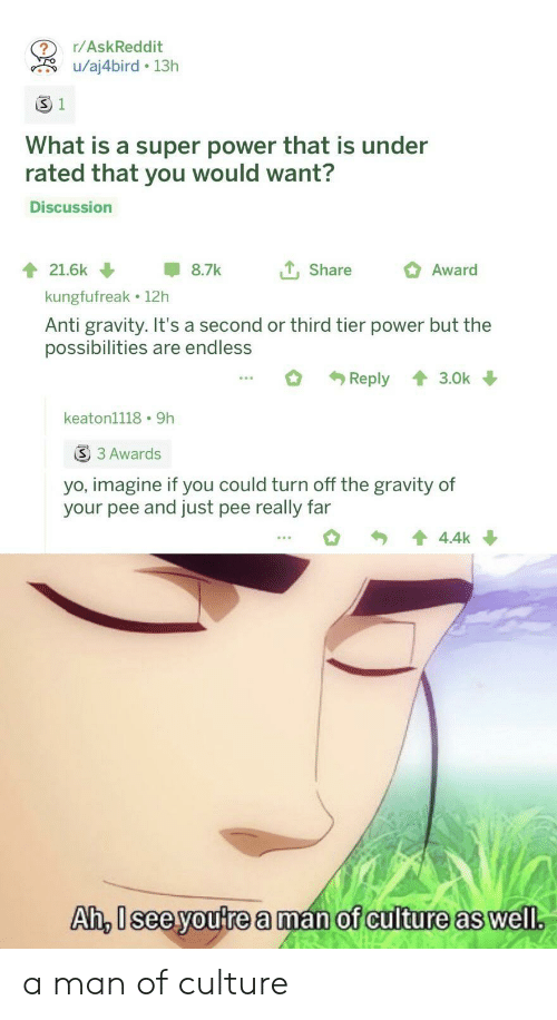 what is a: r/AskReddit  u/aj4bird 13h  S 1  What is a super power that is under  rated that you would want?  Discussion  tShare  21.6k  8.7k  Award  kungfufreak 12h  Anti gravity. It's a second or third tier power but the  possibilities are endless  Reply  3.0k  keaton1118 9h  S 3 Awards  yo, imagine if you could turn off the gravity of  your pee and just pee really far  4.4k  Ah, Isee youtrea man of culture as well. a man of culture