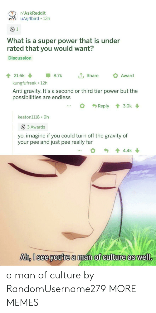 tier: r/AskReddit  u/aj4bird 13h  S 1  What is a super power that is under  rated that you would want?  Discussion  tShare  21.6k  8.7k  Award  kungfufreak 12h  Anti gravity. It's a second or third tier power but the  possibilities are endless  Reply  3.0k  keaton1118 9h  S 3 Awards  yo, imagine if you could turn off the gravity of  your pee and just pee really far  4.4k  Ah, Isee youtrea man of culture as well. a man of culture by RandomUsername279 MORE MEMES