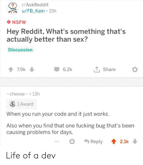 Life Of A: ?r/AskReddit  u/FB Kain 15h  NSFW  Hey Reddit, What's something that's  actually better than sex?  Discussion  7.9k  6.2k  Share  -cheese-13h  S 1 Award  When you run your code and it just works.  Also when you find that one fucking bug that's been  causing problems for days. Life of a dev