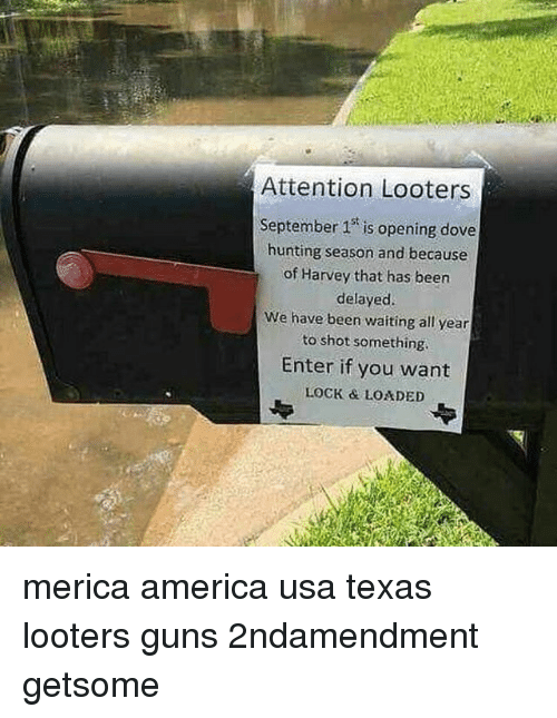 locke: r:  Attention Looters  September 1 is opening dove  hunting season and because  of Harvey that has been  delayed.  We have been waiting all year  to shot something  Enter if you want  LOCK & LOADED merica america usa texas looters guns 2ndamendment getsome