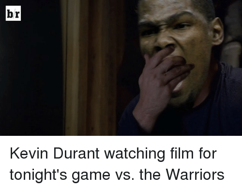Kevin Durant, Sports, and Game: r  b Kevin Durant watching film for tonight's game vs. the Warriors