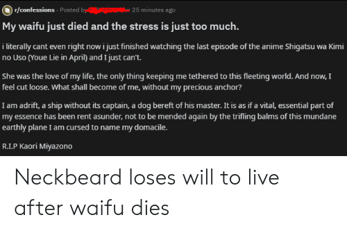 Literally Cant Even: )r/confessions Posted by  or 25 minutes ago  My waifu just died and the stress is just too much.  i literally cant even right now i just finished watching the last episode of the anime Shigatsu wa Kimi  no Uso (Youe Lie in April) and I just can't.  She was the love of my life, the only thing keeping me tethered to this fleeting world. And now, I  feel cut loose. What shall become of me, without my precious anchor?  I am adrift, a ship without its captain, a dog bereft of his master. It is as if a vital, essential part of  my essence has been rent asunder, not to be mended again by the trifling balms of this mundane  earthly plane I am cursed to name my domacile.  R.I.P Kaori Miyazono Neckbeard loses will to live after waifu dies