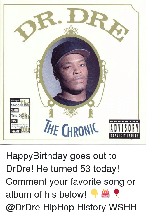 Happybirthday: R. D  featuring the  SNOOP DOG  DEATH  THE D  ROW  PARN TAL  KURUPT. JEWELL  THAT NIGGA DA.  EIPLICIT LYRICS HappyBirthday goes out to DrDre! He turned 53 today! Comment your favorite song or album of his below! 👇🎂🎈 @DrDre HipHop History WSHH