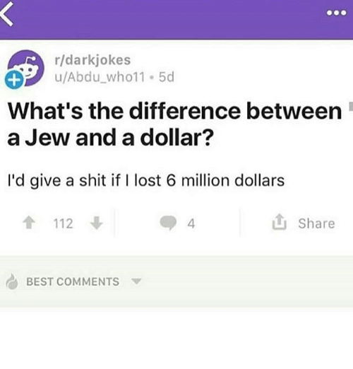 Shit, Lost, and Best: r/darkjokes  u/Abdu-who11-5d  What's the difference between  a Jew and a dollar?  I'd give a shit if I lost 6 million dollars  會112  山Share  4  G) BEST COMMENTS ▼