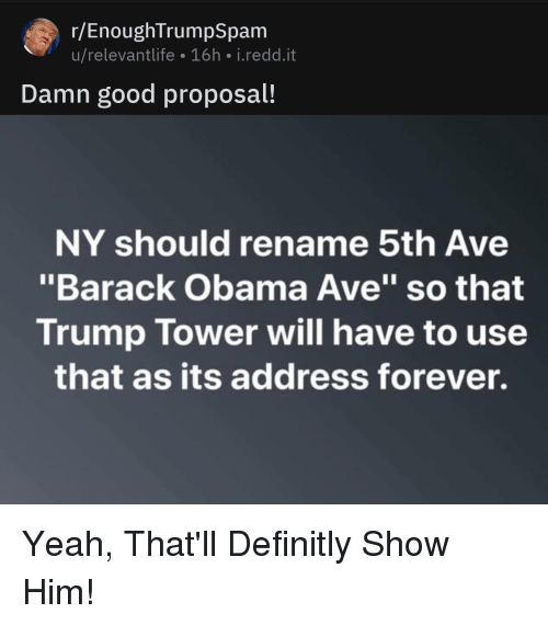"""R Enoughtrumpspam: r/EnoughTrumpSpam  u/relevantlife 16h i.redd.it  Damn good proposal!  NY should rename 5th Ave  """"Barack Obama Ave"""" so that  Trump Tower will have to use  that as its address forever."""