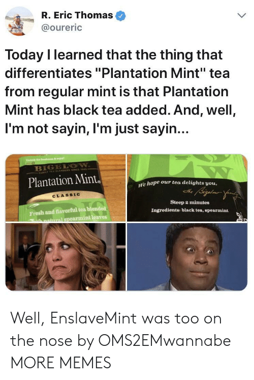 """today i learned: R. Eric Thomas  @oureric  Today I learned that the thing that  differentiates """"Plantation Mint"""" tea  from regular mint is that Plantation  Mint has black tea added. And, well,  I'm not sayin, I'm just sayin  B1  Plantation Mint  e hope our tea delights vou,  CLASSIC  Fresh and flavorful tea blended  armint leaves  Steep 2 minutes  Ingredients: black tea, spearmint  hnatmral spe Well, EnslaveMint was too on the nose by OMS2EMwannabe MORE MEMES"""