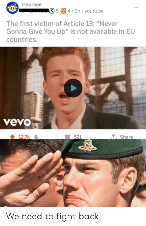 """Vevo: r/europe  54. 3h youtu.be  The first victim of Article 13: """"Never  Gonna Give You Up"""" is not available in EU  countries.  veVO  ,Share  12.7k We need to fight back"""